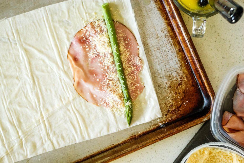 Asparagus wrap on a sheet pan
